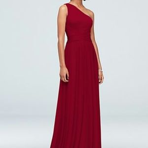 Red one shoulder bridesmaid dress
